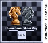 international chess day vector... | Shutterstock .eps vector #1115355731