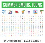 all type of summer travel icons ... | Shutterstock .eps vector #1115363834