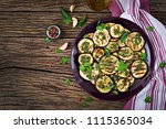 eggplant grilled with balsamic... | Shutterstock . vector #1115365034