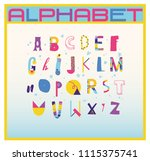 creative abc. colorful alphabet.... | Shutterstock .eps vector #1115375741