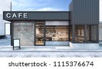 front view cafe shop  ... | Shutterstock . vector #1115376674