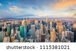 aerial view of manhattan... | Shutterstock . vector #1115381021