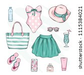 a set of stylish summer clothes ... | Shutterstock .eps vector #1115384021