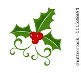 Holly berry - Christmas vector symbol - stock vector