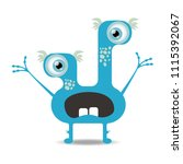 cartoon monster icon. cute and... | Shutterstock .eps vector #1115392067