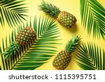 pineapple and tropical palm... | Shutterstock . vector #1115395751