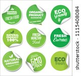 collection of green labels and... | Shutterstock .eps vector #1115408084