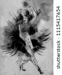 carnival dancer. an hand... | Shutterstock . vector #1115417654
