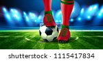 soccer ball on football arena... | Shutterstock .eps vector #1115417834