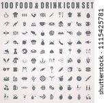 vector food icon set of 100... | Shutterstock .eps vector #1115425781