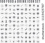 vector food icon set of 100... | Shutterstock .eps vector #1115425787