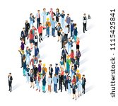 crowded isometric people vector ... | Shutterstock .eps vector #1115425841