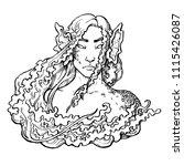 mermaid. portrait of mystical... | Shutterstock .eps vector #1115426087