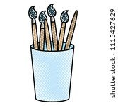 doodle art paintbrushes objects ... | Shutterstock .eps vector #1115427629