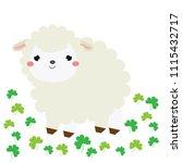 cute cartoon sheep  lamb. farm... | Shutterstock . vector #1115432717