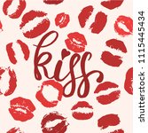 world kiss day seamless pattern.... | Shutterstock .eps vector #1115445434