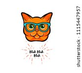 ginger cat geek. smart glasses. ... | Shutterstock .eps vector #1115447957