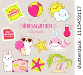 set of cute icons in kawaii... | Shutterstock .eps vector #1115453117