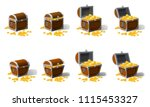 set old pirate chests full of... | Shutterstock .eps vector #1115453327