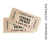 realistic old cinema ticket on... | Shutterstock .eps vector #1115461241