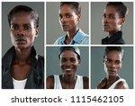 people collage portrait single | Shutterstock . vector #1115462105