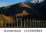 line up of wind turbines at... | Shutterstock . vector #1115465864