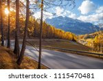 asphalt road in mountains. autumn landscape. Dolomites Alps, Italy - stock photo