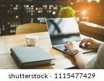 closeup hands of freelancer...   Shutterstock . vector #1115477429
