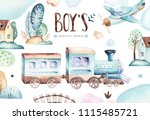 baby boys world. cartoon... | Shutterstock . vector #1115485721