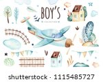 baby boys world. cartoon... | Shutterstock . vector #1115485727