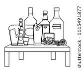 line liquor beverages bottles... | Shutterstock .eps vector #1115491877