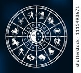 horoscope circle on a dark blue ... | Shutterstock .eps vector #1115493671