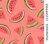watermelon seamless pattern.... | Shutterstock .eps vector #1115499455