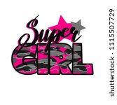 super girl t shirt with stars ... | Shutterstock .eps vector #1115507729