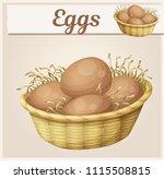 chicken eggs in basket icon....   Shutterstock .eps vector #1115508815