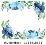 flowers watercolor frame ...   Shutterstock . vector #1115518991