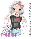 cute girl fashion | Shutterstock .eps vector #1115519504
