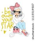 cute girl fashion | Shutterstock .eps vector #1115519507