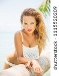 summer fashion portrait of... | Shutterstock . vector #1115520209