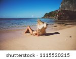 summer lifestyle portrait of... | Shutterstock . vector #1115520215