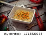 instant noodles ramen on a...   Shutterstock . vector #1115520395