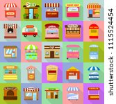 street food kiosk icons set.... | Shutterstock .eps vector #1115524454