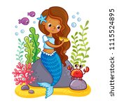 the mermaid sits on a rock and... | Shutterstock .eps vector #1115524895