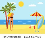 tropical landscape with beach   ... | Shutterstock . vector #1115527439