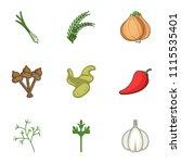 green fodder icons set. cartoon ...   Shutterstock .eps vector #1115535401
