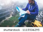 hipster young man with backpack ... | Shutterstock . vector #1115536295