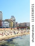 Small photo of Marseille, France - May 19, 2018: General view of the Catalans beach, the most popular and frequented beach in Marseille, situated only 15 minutes walk from the city center.