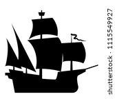Medieval Ship Icon Black Color