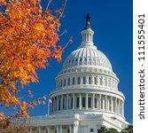 us capitol building in autumn   ... | Shutterstock . vector #111555401
