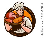 cook holding a tray of meat... | Shutterstock .eps vector #1115556854